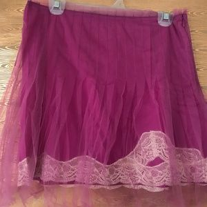 Lace Pink Orchid Tulle Mini Skirt